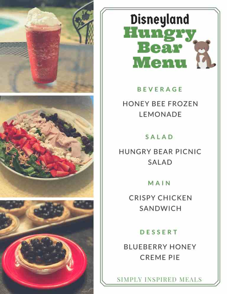 Disneyland Hungry Bear Menu